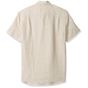 Amazon Essentials Men's Slim-Fit Short-Sleeve Linen Shirt, Light Blue, Medium