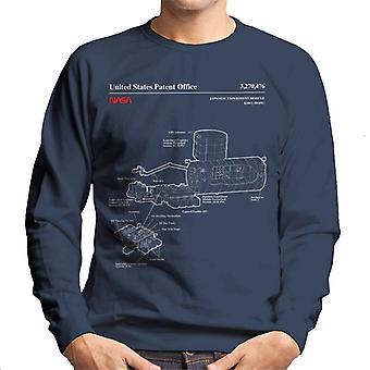 NASA Japanese Experiment Module Kibo Blueprint Men's Sweatshirt