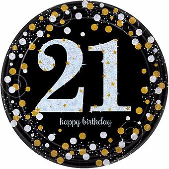 Amscan Sparkling Gold Celebration 21st Birthday Party Plates (Pack of 8)
