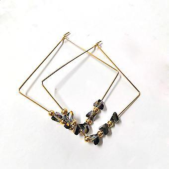 Brincos de argola quadrada dourada
