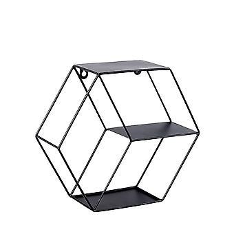 Creative Iron Hexagon Storage Rack Wall Hanging Shelf Decor Black