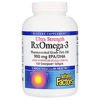 Natural Factors, Ultra Strength RxOmega-3 with Vitamin D3, 900 mg EPA/DHA, 150 E