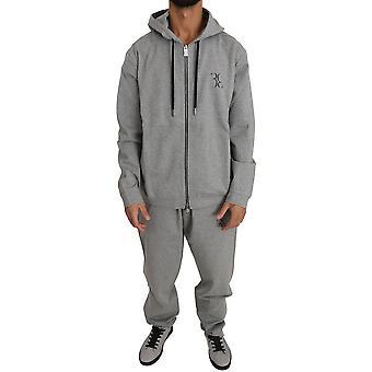 Šedý bavlnený sveter nohavice tepláková súprava BIL1024-1