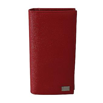 Red dauphine leather card holder mens wallet