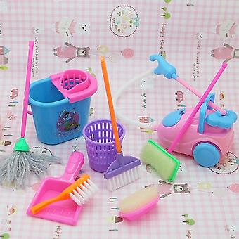 Real Life Cleaning Tool Play House Toys Children Role Playing Educational Pretend Toy- Mini Mop Broom Bucket Accessories (multicolor)