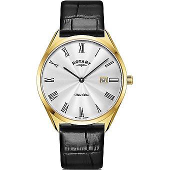 Rotary GS08013-01 Men's Ultraslim Gold Tone Case Wristwatch