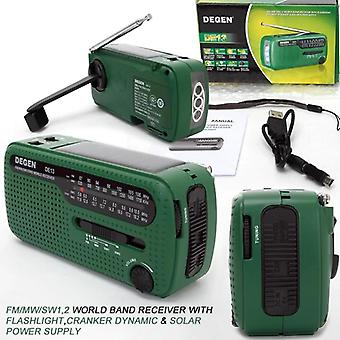 De13 Fm Am Sw Kampi Dynamo Solar Power Emergency Radio Global Receiver, Korkea
