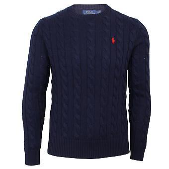 Ralph lauren men's classic blue cable knit jumper