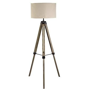 1 Lichte vloerlamp zwart, linnentint, E27