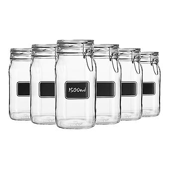 Bormioli Rocco 6pc Lavagna Glass Storage Jar Set with Chalkboard Labels - Food Pasta Jam Preserving Jars - 1.5L