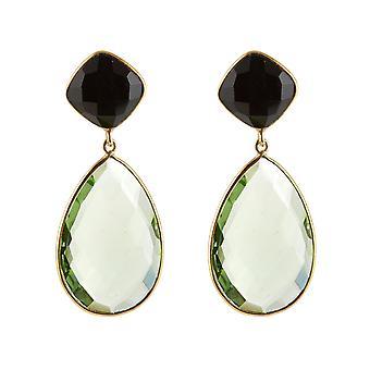 Gemshine örhängen grön prasiolite kvarts droppar och svart onyx ädelstenar