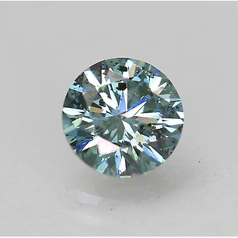 Cert 0.74 Carat Vivid Blue VS2 Round Brilliant Enhanced Natural Diamond 5.78mm
