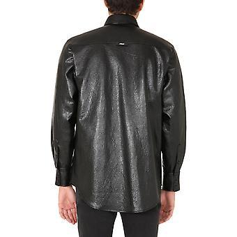 Msgm 2940me0220767099 Men's Black Viscose Shirt