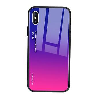 Stoff zertifiziert® iPhone 6 s Fall Gradient - TPU und 9H Glas - stoßfest glänzend Fall Abdeckung Cas TPU lila