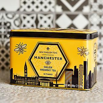 Lata de chá de Manchester com 40 saquinhos de chá ingleses