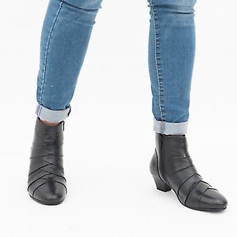 لوتس تارا السيدات الجلود الكاحل أحذية الأسود