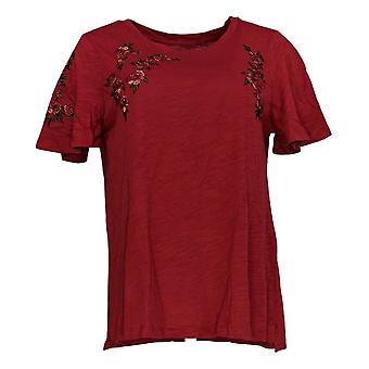 DG2 por Diane Gilman Women's Top Red Tunic Floral Embroidments 675-239