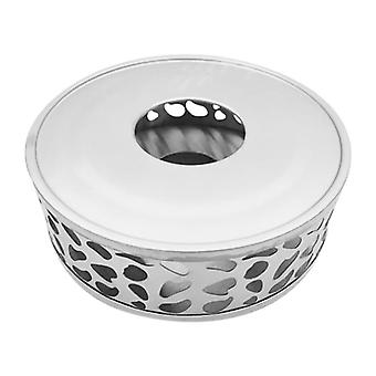 Stainless Steel Tea Warmer, Round Tea Maker Candle Base, Thee Warmer (zilver)