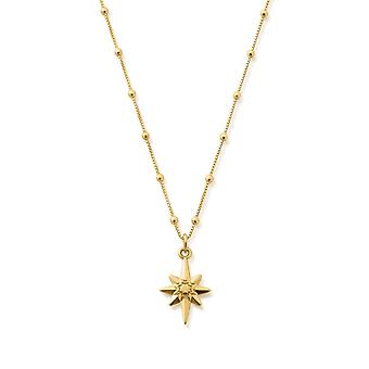 ChloBo GNBB2087 Gold Tone Bobble Chain Lucky Star Necklace