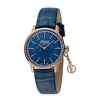 Ferre Milano Ladies D. Blue Dial D. Blue Leather strap Watch
