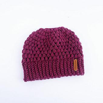 Winter Knitting Hats Women Ladies Girl Stretch With Tag Messy Bun Ponytail