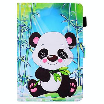 Pour Samsung Galaxy Tab A10.1 (2019) T510 Colored Drawing Stitching Horizontal Flip Leather Case with Holder & Fentes de carte (Panda de dessin animé)
