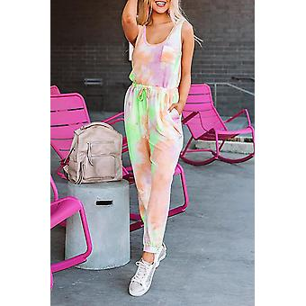 Tie Dye Drawstring Sleeveless Jogging Jumpsuit