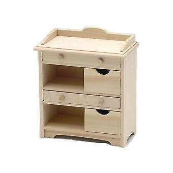 Dolls House Bare Wood Storage Cabinet Miniature Lounge Bedroom Nursery Furniture
