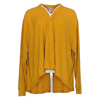 Anyone Women's Sweater Long Sleeve Cardigan Henley Neck Jaune A310154