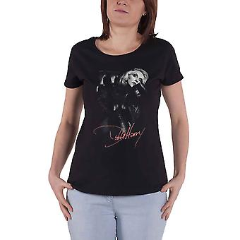 Debbie Harry T Shirt Leather Girl Blondie Logo Official Womens Skinny Fit Black