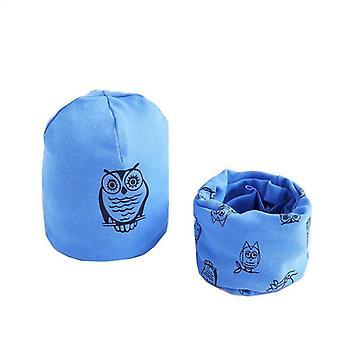 Plush Hat Scarf Set, Owl Print Neck, Collar Cotton