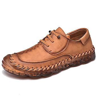 Mens Casual Skor Läder Loafers 587 Brun