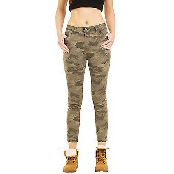 Slim Stretch Camouflage Trousers Short Leg - Green