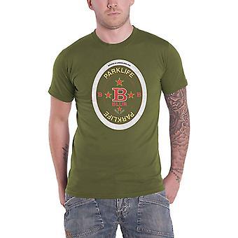 Blur T Shirt Parklife Beermat Band Logo yeni Resmi Mens Green
