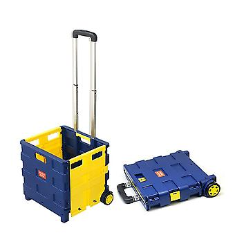 Foldable Shopping Cart Storage Box Plastic Luggage Trolley