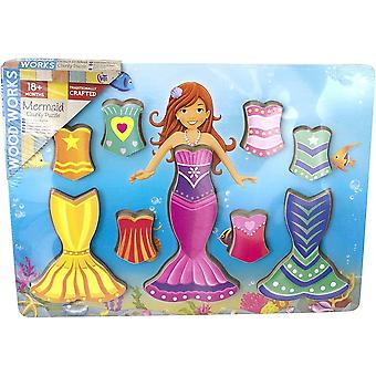 HTI Wooden Chunky Puzzle.  Mermaid    Age 18m+