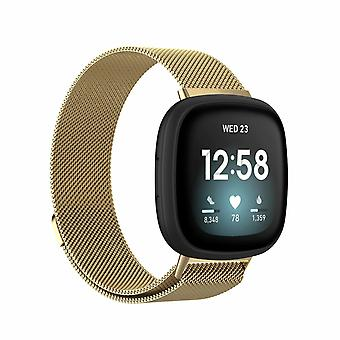 """For Fitbit Versa 3 / Sense Strap Milanese Wrist Band Stainless Steel Magnetic[Large (6.7""""-9.3""""),Gold]"""