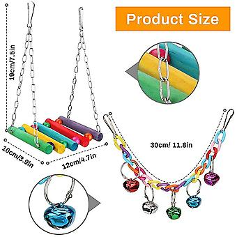 Laelr Bird Cage Toys 8 Pcs Parrot Swing Chewing Toy Set Budgie Toys for Cage Bird Hammock Bell
