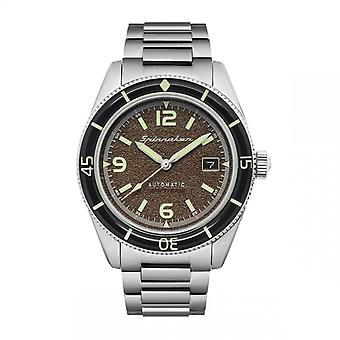 Spinnaker Watch SP-5055-33 - FLEUSS Automatic with date stainless steel round case Brown dial Men's stainless steel bracelet