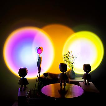 Sunset Rainbow Projector Lamp Atmosphere USB Button Led Night Light Home Coffee Shop Background Wall Decoration Projected Lamp New Robot Style