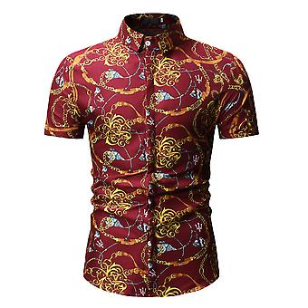 YANGFAN Homme's Casual Imprimé Chemise à manches courtes