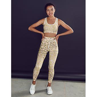 Pale Gold Leopard Print Fitness Set
