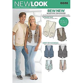New Look Sewing Patterns 6036 UNISEX TOPS VESTS