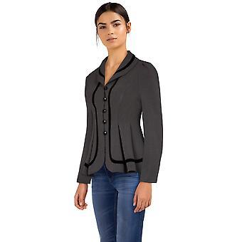 Chic Star Velvet Trims Jacket In Gray