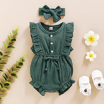 Cute summer baby girls romper with matching cotton linen headband, 6 months +