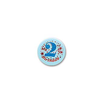 Mein 2. Geburtstag Satin Button (Pack von 6) - Bn052B