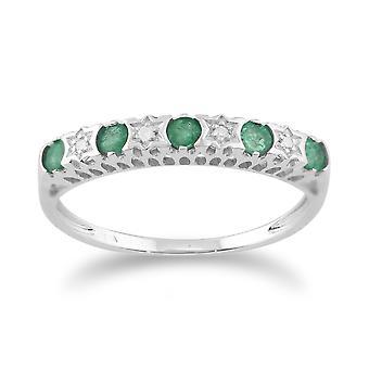 9ct White Gold 0.27ct Natural Emerald & 2pt Diamond Half Eternity Band Ring