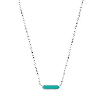 Ania Haie Teal Enamel Bar Silver Necklace N028-03H-T