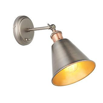 Endon Lighting Hal Wall Light In Aged Copper & Aged Pewter