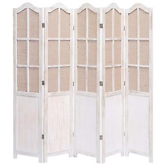 vidaXL 5 قطعة غرفة مقسم أبيض 175 × 165 سم النسيج